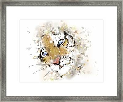 Space Lion Cub White Framed Print by Darren Cannell