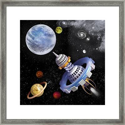 Space Shuttle Framed Print by Anne Menschenkind