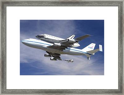 Space Shuttle Endeavour Over Lax With Hornet Chase Plane September 21 2012 Framed Print by Brian Lockett