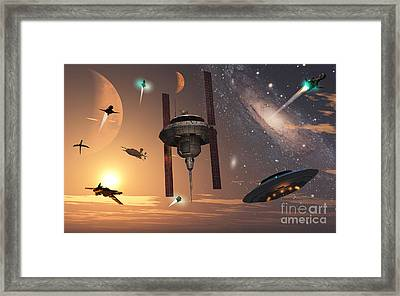 Spaceships Used By Different Alien Framed Print by Mark Stevenson