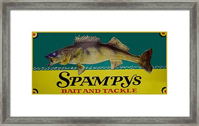 Spampys Bait And Tackle Framed Print by Sign Art
