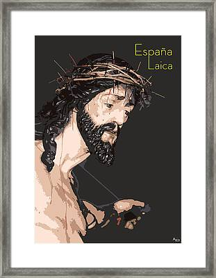 Spanish Christ Framed Print by Joaquin Abella