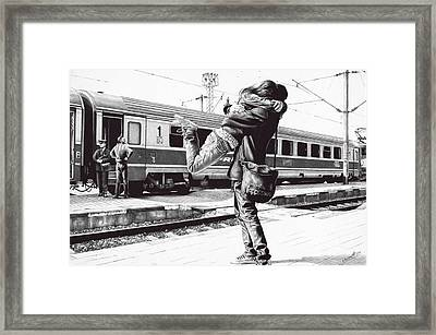 Sparkle At The Train Station Framed Print by Andrey Poletaev
