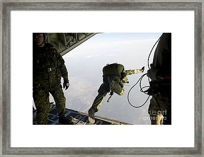 Special Operations Jumpers Exit A C-130 Framed Print by Stocktrek Images