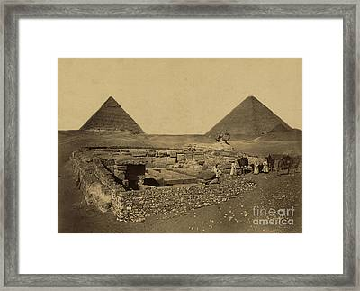 Sphinx And Giza Pyramids, 19th Century Framed Print by Science Source