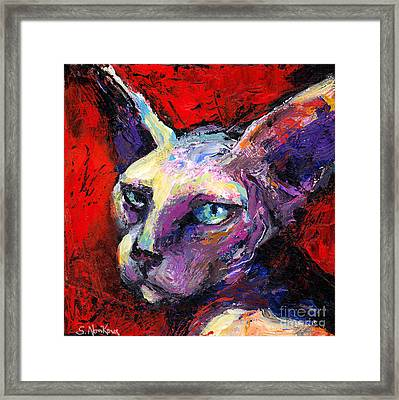 Sphynx Sphinx Cat Painting  Framed Print by Svetlana Novikova