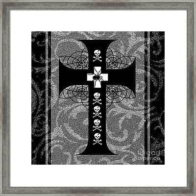 Spiderweb Skull Cross Framed Print by Roseanne Jones
