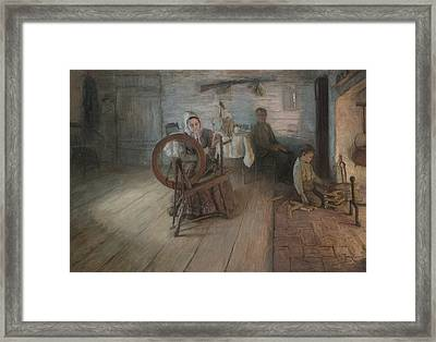 Spinning By Firelight Framed Print by Henry Ossawa Tanner
