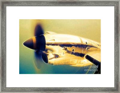 Spinning Propeller Pratt And Whitney Pw118a Turbo-prop In Flight Framed Print by Wernher Krutein