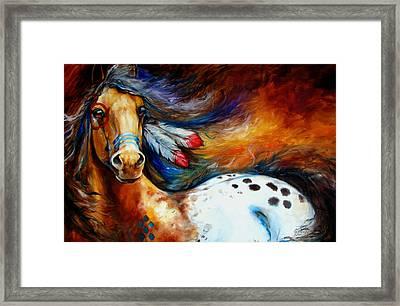 Spirit Indian Warrior Pony Framed Print by Marcia Baldwin