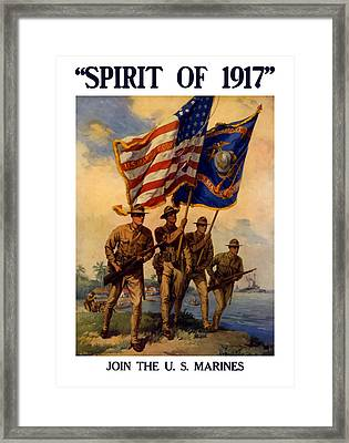 Spirit Of 1917 - Join The Us Marines  Framed Print by War Is Hell Store