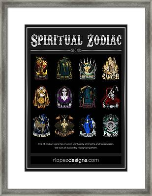 Framed Print featuring the digital art Spiritual Zodiac Signs by Raphael Lopez