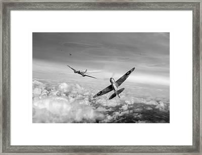 Spitfire Attacking Heinkel Bomber Black And White Version Framed Print by Gary Eason