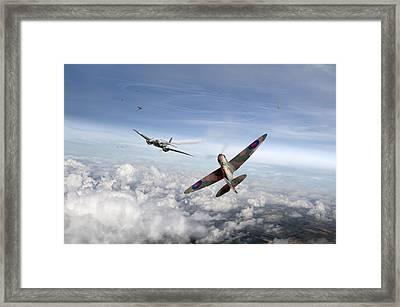 Spitfire Attacking Heinkel Bomber Framed Print by Gary Eason