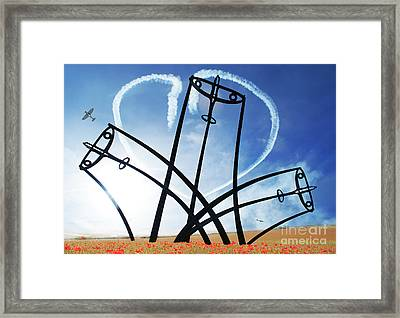 Spitfire Sentinel In The Field Of Poppies  Framed Print by Eugene James