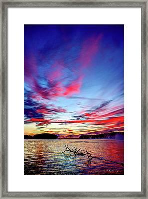 Splash Of Color Sugar Creek Sunrise Lake Oconee Georgia Framed Print by Reid Callaway