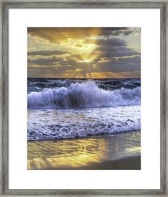 Splash Sunrise IIi Framed Print by Debra and Dave Vanderlaan