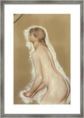 Splashing Figure Study For The Large Bathers Framed Print by Pierre Auguste Renoir
