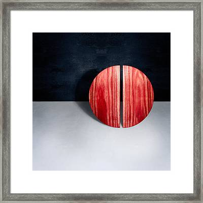 Split Circle Red Framed Print by YoPedro