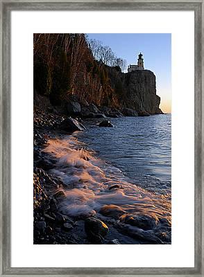 Split Rock Lighthouse At Dawn Framed Print by Larry Ricker