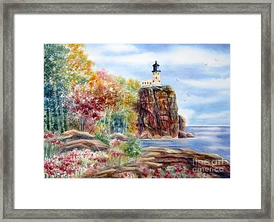 Split Rock Lighthouse Framed Print by Deborah Ronglien