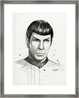 Spock Watercolor Portrait Framed Print by Olga Shvartsur