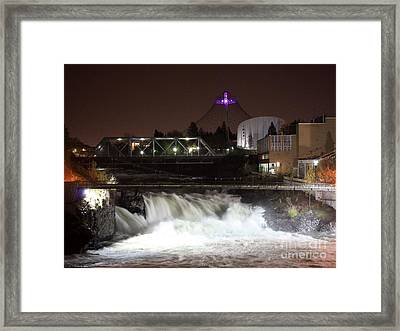Spokane Falls Night Scene Framed Print by Carol Groenen