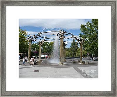 Spokane Fountain Framed Print by Carol Groenen