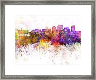 Spokane Skyline In Watercolor Background Framed Print by Pablo Romero
