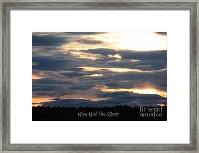 Spokane Sunset - Give God The Glory Framed Print by Carol Groenen