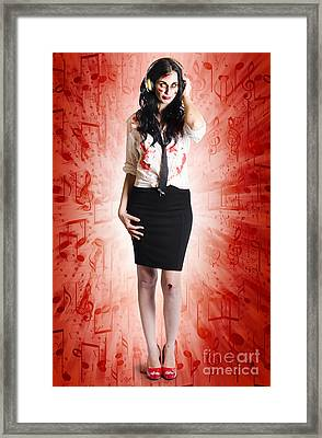 Spooky Female Ghoul Listening To Horror Music Framed Print by Jorgo Photography - Wall Art Gallery