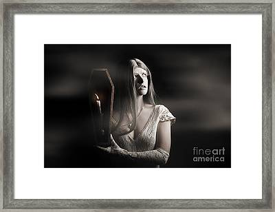 Spooky Gothic Girl In Haunted Horror House  Framed Print by Jorgo Photography - Wall Art Gallery