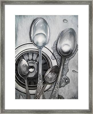 Spoons And Stainless Steel Realistic Still Life Painting Framed Print by Linda Apple