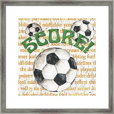 Sports Fan Soccer Framed Print by Debbie DeWitt