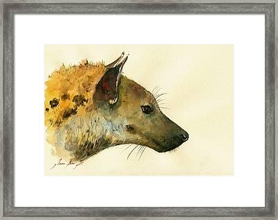 Spotted Hyena Animal Art Framed Print by Juan  Bosco