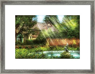 Spring - Garden - The Pool Of Hopes Framed Print by Mike Savad