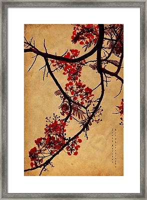 Spring Bloosom In Maldives. Flamboyant Tree I.  Japanese Style Framed Print by Jenny Rainbow