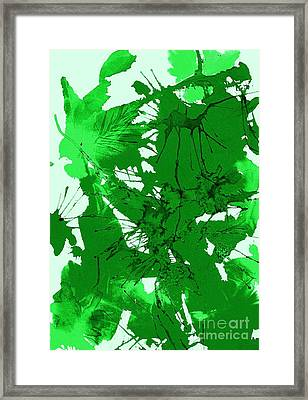 Spring Green Explosion - Abstract Framed Print by Ellen Levinson