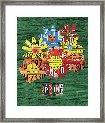 Spring Has Sprung Recycled Vintage Colorful Flowers License Plate Art Framed Print by Design Turnpike