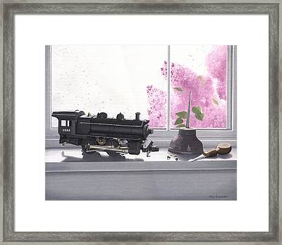 Spring Rain  Electric Train Framed Print by Gary Giacomelli