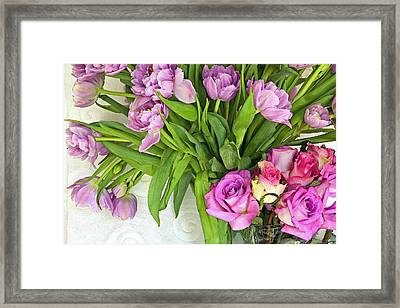 Spring Roses And Tulips Framed Print by Margaret Hood