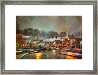 Spring Snow In Peterborough Nh Framed Print by Joann Vitali