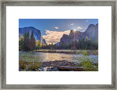 Spring Sunrise At Yosemite Valley Framed Print by Scott McGuire