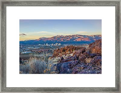 Spring Sunrise Overlooking Reno Nevada Framed Print by Scott McGuire