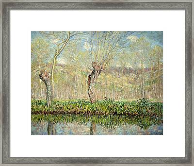 Spring  The Border Of The Epte Framed Print by Claude Monet