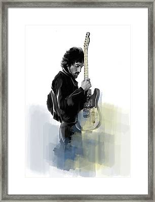 Springsteen Bruce Springsteen Framed Print by Iconic Images Art Gallery David Pucciarelli