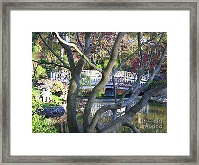 Springtime Bridge Through Japanese Maple Tree Framed Print by Carol Groenen