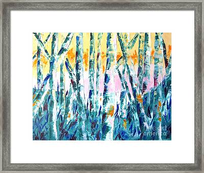 Springtime In Thewoods Pallet Knife Painting Framed Print by Lisa Boyd