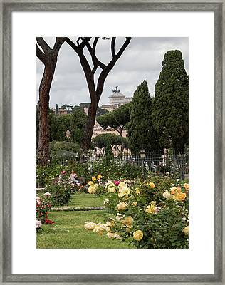 Sprintime In Rome, Vittoriale From Roses Garden 1 Framed Print by Daniele Chiarottini