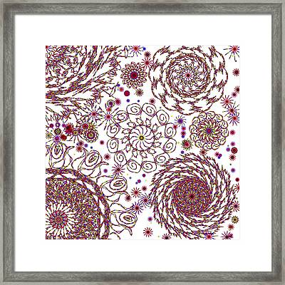 Spun Floral Red 4 Framed Print by Catherine Lott